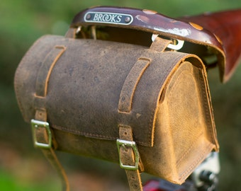 Saddle Casket Handcrafted Bag in Real Leather For Bike Bicycle Brooks Handcrafted Leather