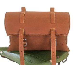 Genuine Leather Bag Bicycle Saddle Handlebar Frame Vintage Craft CHERRY BROWN
