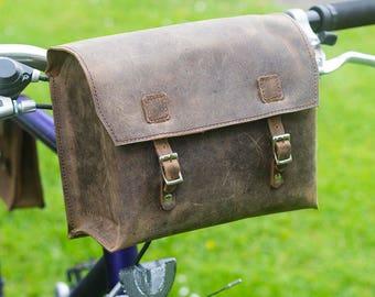 Vintage leather Bicycle Saddle bag Racer bike Tools kit handle bar tool box gift