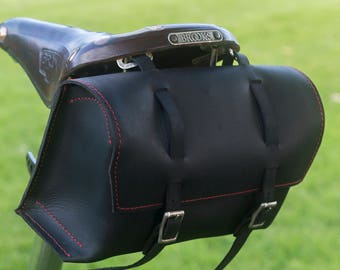 Large Genuine Leather Bicycle Bag Saddle Handlebar BLACK Red stitching Handcrafted Leather