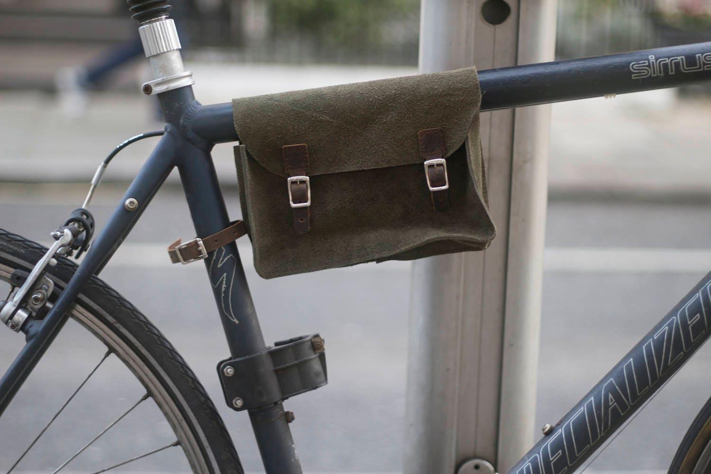 Fahrrad Rahmen Tasche Handarbeit natürliche Wildleder grün | Etsy