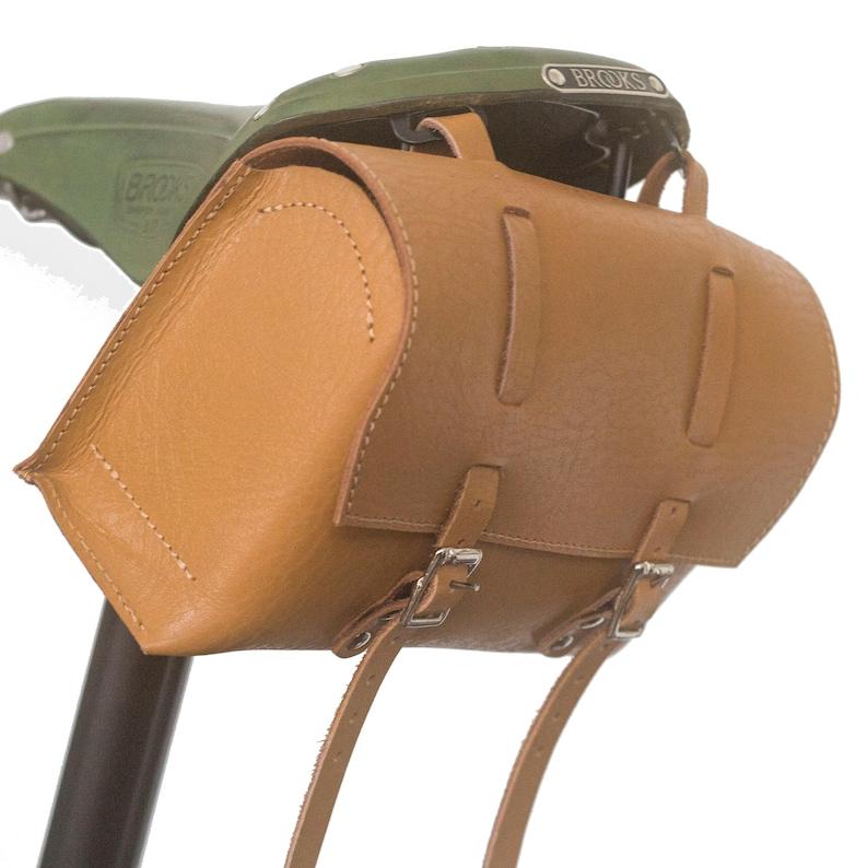 Details about  /Genuine Leather Bag Bicycle Saddle Handlebar Frame Vintage Craft HONEY TAN