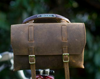 Large Genuine Leather Bicycle Bag Saddle Handlebar OLD FASHIONED Handcrafted Leather