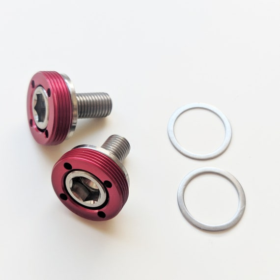 Lightweight Crank Bolt Set for BROMPTON in RED
