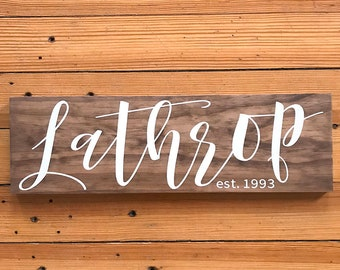 Last Name Wood Sign, Established Sign, Name Wood Sign, Family Name Sign, New Home Housewarming Gift, Wooden Sign