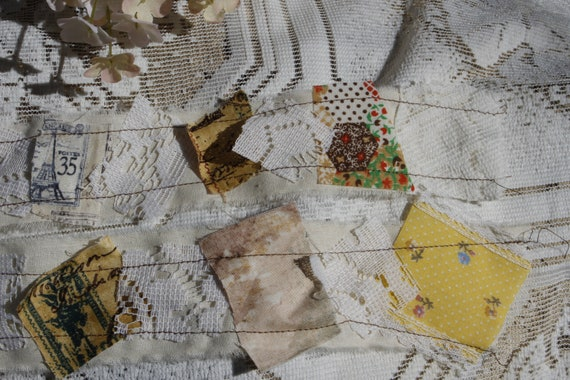 Junk Journaling Supplies Vintage Photo Yellow Fabric and Lace Scraps