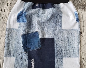 Women's skirt - Jeans effect with patch, stains and false holes
