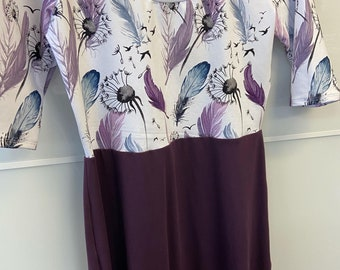 Feather and dandelions dress - PRUNE skirt- with sleeves