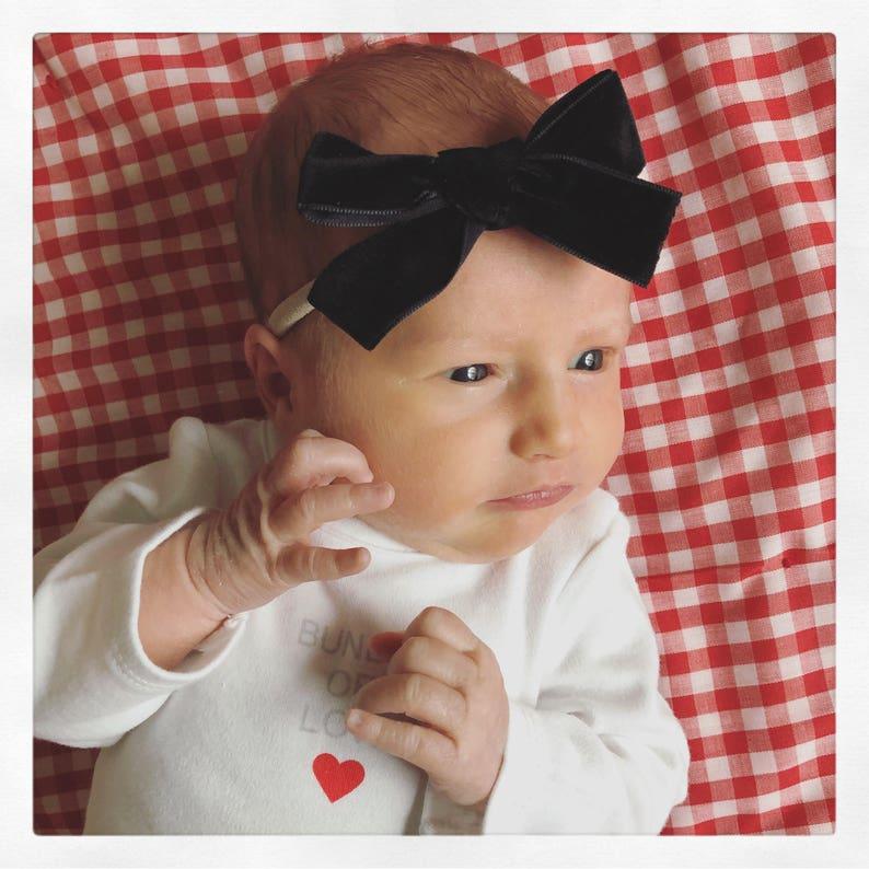 Black Velvet Baby HeadbandBaby BowBowHair BowBowsHair Bowstied bowhand tied bowHeadbandvelvetvelvet hair bowblack bow