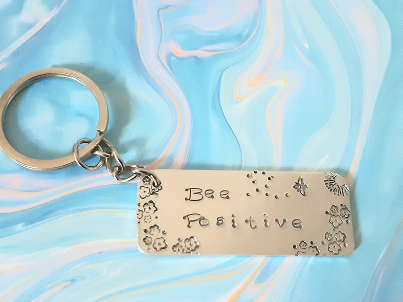 gift for her Motivational quote handmade hand stamped keyring Bee themed gift for him mum dad one of a kind unique