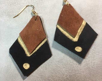 Black and brown genuine leather dangle frop earrings.  Gold metallic trim.