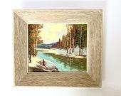 John H. Kinnear Oil on Board Landscape Painting River Scene Signed by Artist Original Wooden Frame