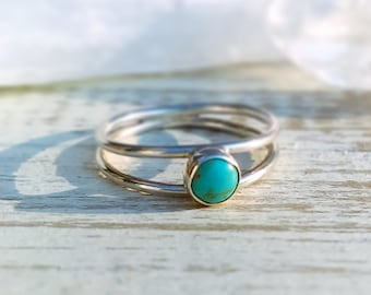 Double Ring, Double Band Turquoise Ring, Sterling Silver Ring, Silver Band, Stacking Ring, Turquoise Ring, Statement Ring, Rustic Boho