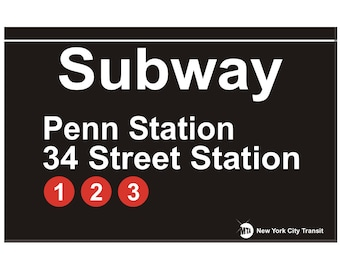 Penn Station 34th Street New York City Subway Station Sign