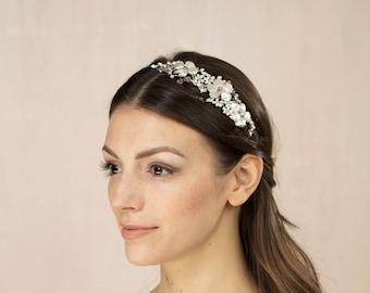 Bridal Headband, wedding hairband, pearl and crystal tiara, Keshi pearl, Swarovski crystal, blush pink, bridal hair accessories - Lannacombe