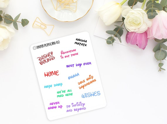disney inspired quotes planner and scrapbooking stickers