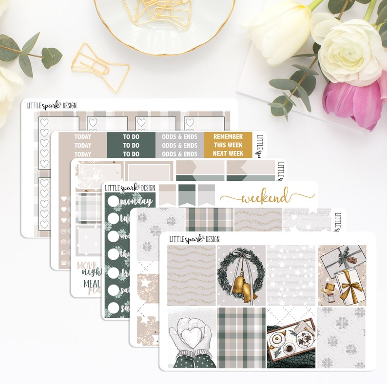 Neutral Winter Weekly Planner Stickers Christmas Holiday Stars