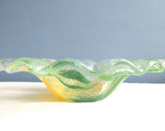 Retro Candy Dish, Fluted Glass  ~ FREE SHIPPING! Mid-Century Clear, Green, Yellow Glass