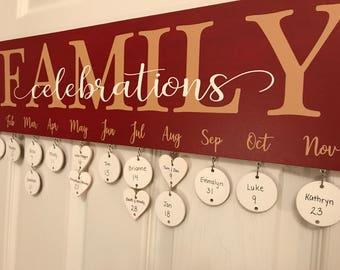 Family Celebrations Wood Hanging Sign