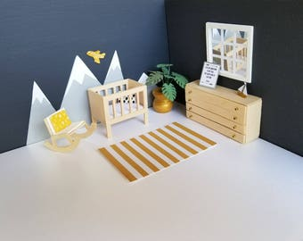 dollhouse modern furniture.  Dollhouse Mini Modern Nursery Set Includes All Furniture And Decor In Pictures  Crib  Dresser Rocking Chair Monstera Plant Doll House Miniatures Throughout Dollhouse