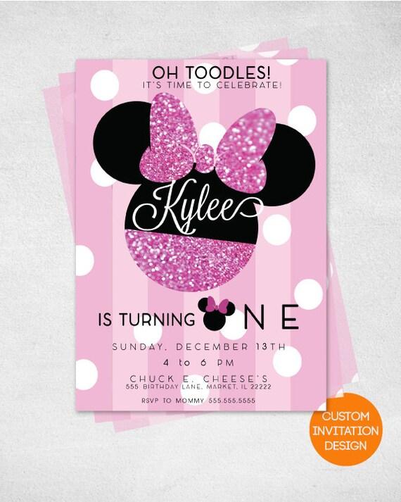 Minnie Mouse Invitation 1st Birthday Custom Digital