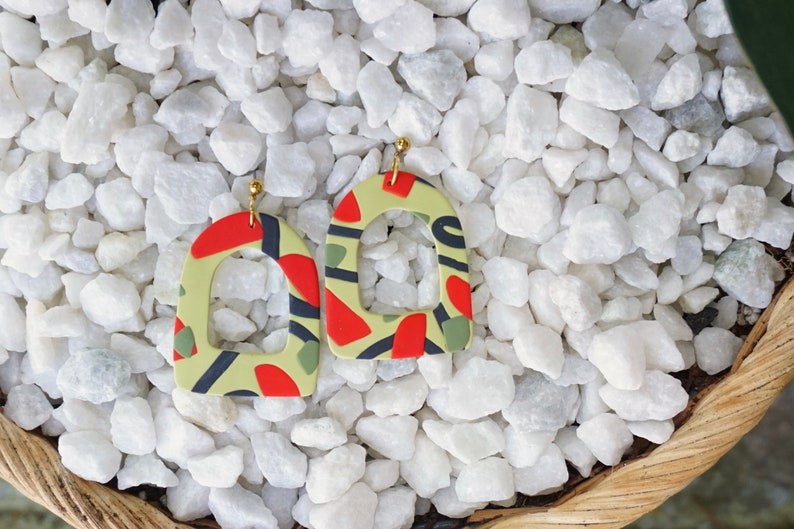 Statement Polymer Clay Earring Polymer Clay Drop Earring Yellow Earring Polymer Clay Earrings Statement Color Earring