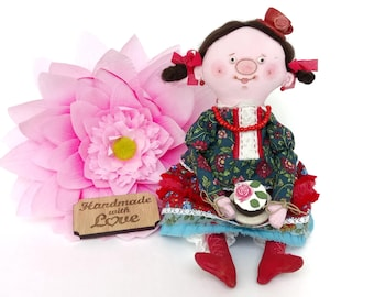 Tea time doll Tea lovers gift Handmade soft doll Coffee lover gift Tea theme Gift for tea lover Mom gift Easter gift Mothers day gift