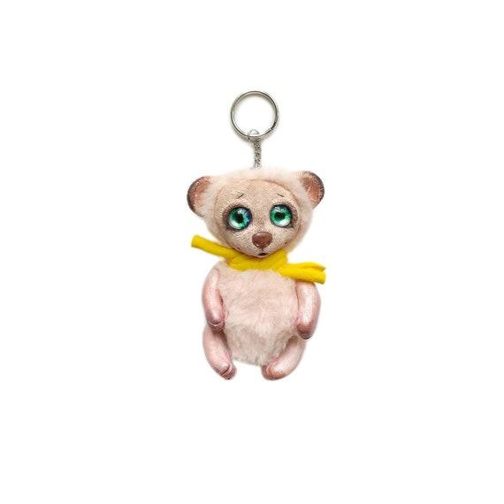 White Teddy BEAR bag charm Fantasy creature Handbag charm  2345ce3c7ddd