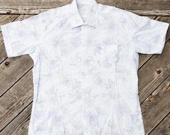 vintage White Floral Hawaiian Aloha Shirt - Elegance - XL