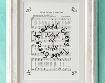 All Hail The Power of Jesus Name - Hymn Print - Hymn Art- Hymnal Sheet- Home Decor- Music Sheet- Gift- Instant Download- Faith - Inspiration