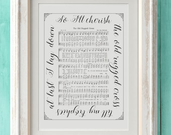 The Old Rugged Cross - Hymn Print - Hymn Art - Hymnal Sheet - Home Decor - Music Sheet - Gift - Instant Download - Faith - Inspiration