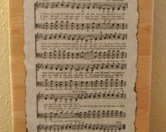 Custom Hymn Design - Personalized Hymn Print Mounted on Wooden Plaque