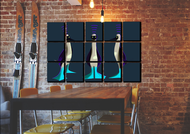 Creative Themed Painting 3 Nobody Knows Who Wall Art Decor birds Canvas Picture Print Poster for Drug Store
