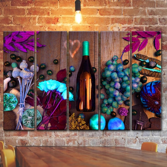Colorful Wine Wall Art Picture For Kitchen Still Life Wall Etsy