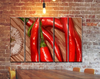 "BIG SET OF 5 Panels Kitchen Canvas Wall Art Red Chilli Pepper Canvas  Kitchen Painting Kitchen Print Wooden Frame Kitchen Wall Decor 55""x35"""