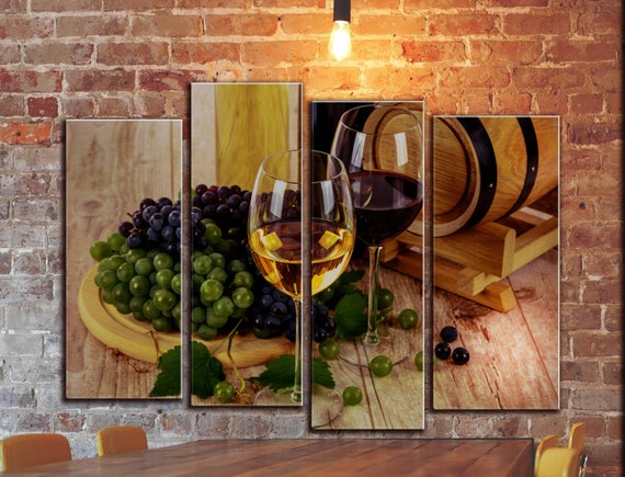 Kitchen Wine Wall Canvas Art Grape Winery White Red Wine Etsy