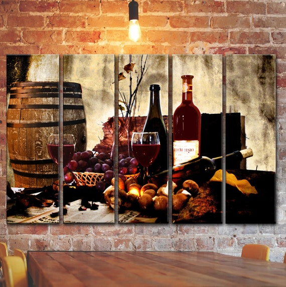 Kitchen Wine Barrel Bottle Glass Wall Art Picture On Canvas Panels Winery  Decor Grape Canvas Wall Print Poster Kitchen Still Life Decoration