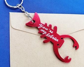 Personalised Lobster Keyrings - Bottle Opener Keyring - Engraved by Hand - Custom Lobster Keychain - Customised Gift Idea – Stocking Filler