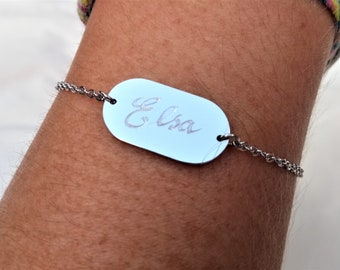 Personalised Bracelet, Engraved By Hand, Stainless Steel Bracelet, Engraved Pendant, Custom Engraved Jewellery, Unique Birthday Gift Idea