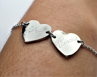 Personalised Bracelet, Engraved By Hand, Love Hearts, Stainless Steel 2 Name Bracelet, Custom Engraved Jewellery, Unique Birthday Gift