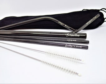 5 Pack Personalised Stainless Steel Reusable Straws, Engraved by Hand, Eco Friendly Gift, Customised Gift Pack for Family and Friends