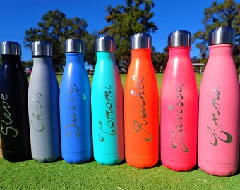 Personalised Drink Bottles, Engraved by Hand, Reusable Insulated Stainless Steel Bottle, Eco friendly Gift, Custom Water Bottle, Birthday