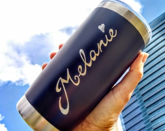 Personalised Stainless Steel Reusable Insulated Travel Mugs, Engraved By Hand, Customised Coffee Mug, Eco-friendly Gift, Reusable Tumbler