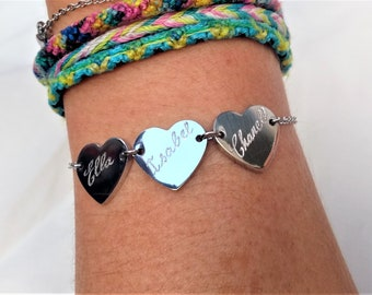 Personalised Bracelet, Engraved By Hand, Love Hearts, Stainless Steel 3 Name Bracelet, Custom Engraved Jewellery, Unique Birthday Gift