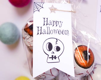 Halloween Flag Tags, Pk of 30, Lolly Candy Bag Tags, Trick or Treat, Skull, Pumpkin, Haunted House, Zombie, Black Cat, Cauldron, Treat Tags