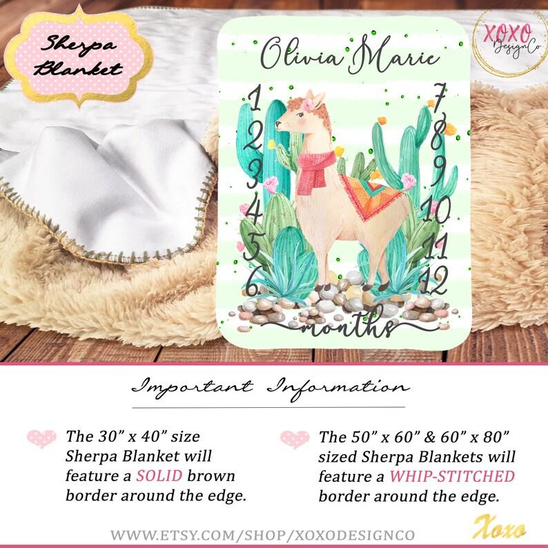 Baby Milestone Blanket Girl  Llama Baby Blanket  Cactus Baby Blanket  Personalized Llama Baby Bedding Girl  Alpaca Baby Blanket Monthly