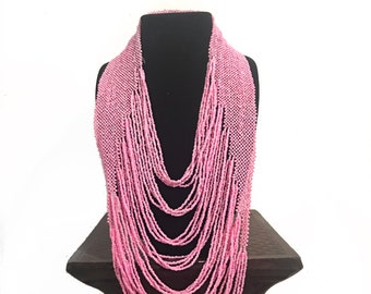 Pink Layered Beaded Necklace
