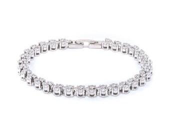 Romantic White Zircon silver bracelet