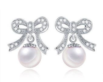 Silver Ribbon Pearl Earrings