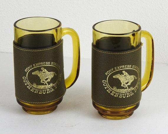Vintage Amber Glass Beer Mugs / Retro Nebraska Souvenir Beer Mugs